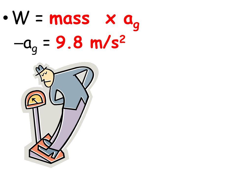 W = mass x ag ag = 9.8 m/s2