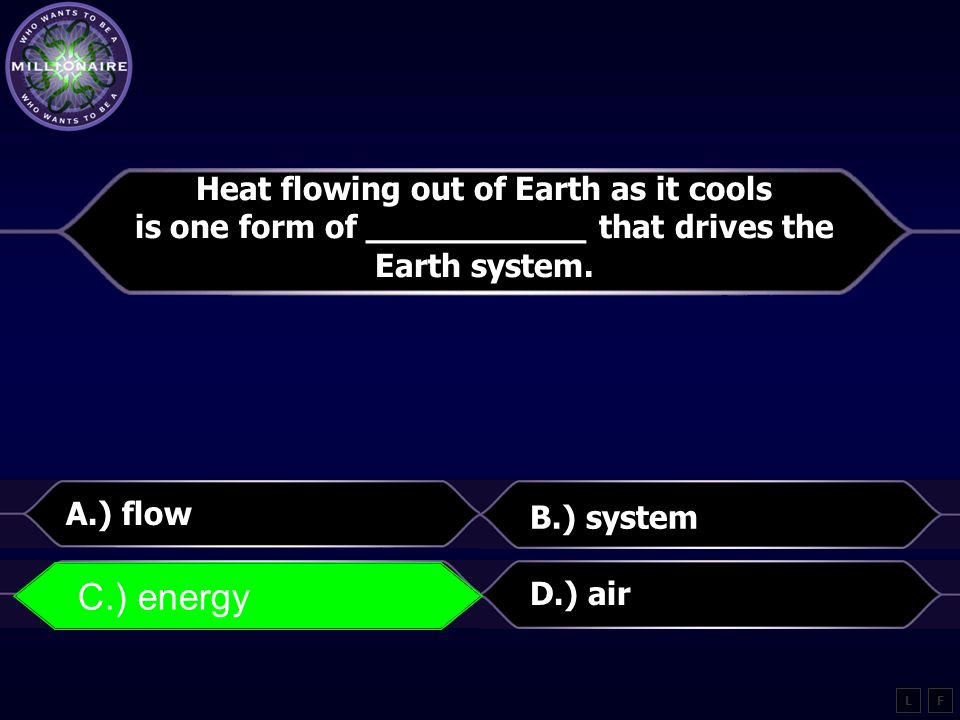 C.) energy Heat flowing out of Earth as it cools
