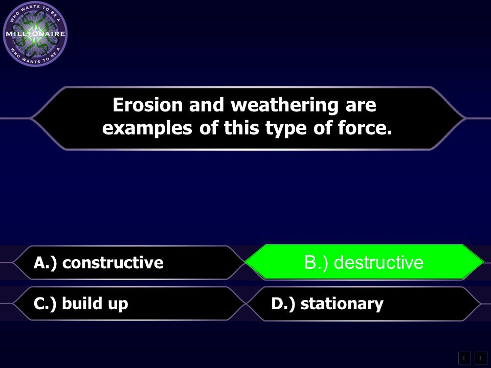 Erosion and weathering are examples of this type of force.