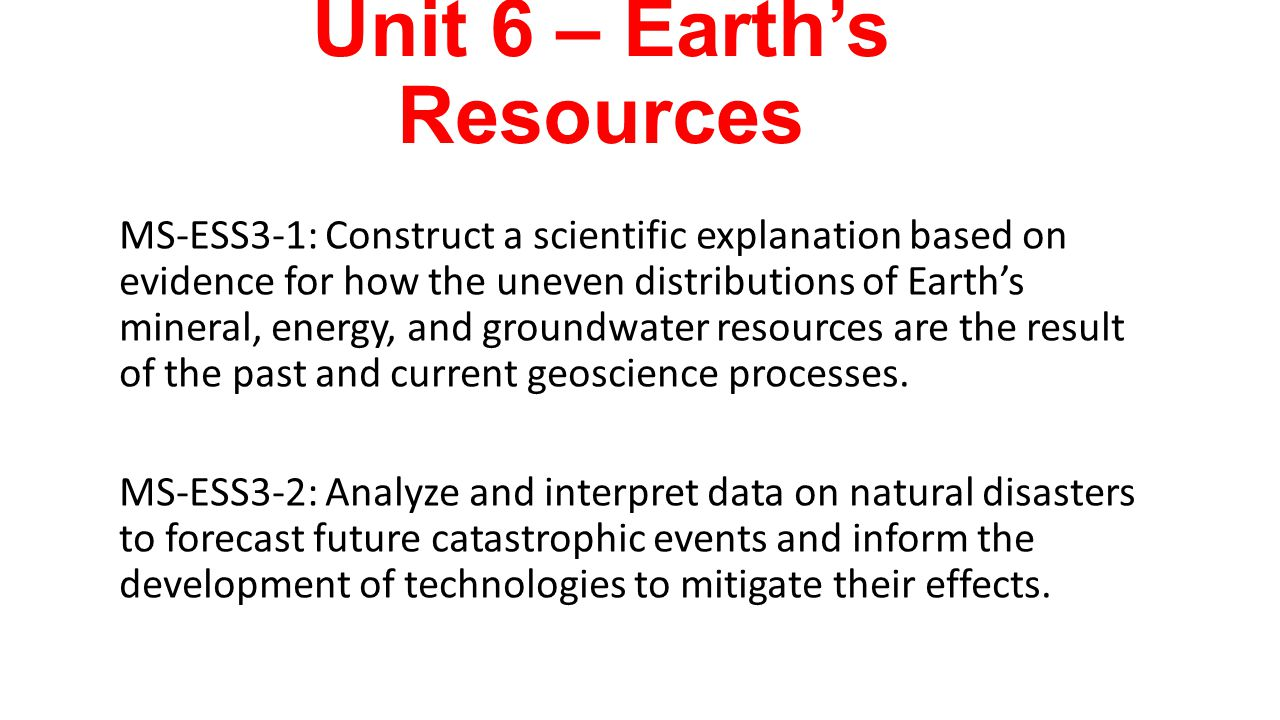 Unit 6 – Earth's Resources