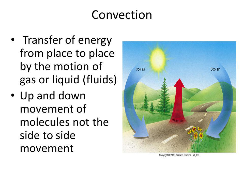 Convection Transfer of energy from place to place by the motion of gas or liquid (fluids)