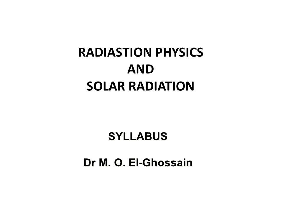 SYLLABUS Dr M. O. El-Ghossain