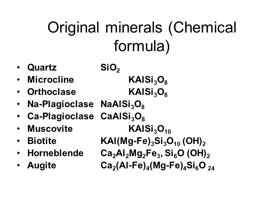 Original minerals (Chemical formula)