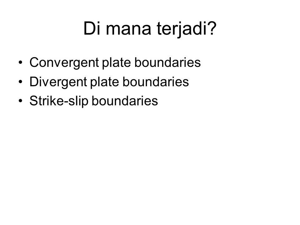 Di mana terjadi Convergent plate boundaries