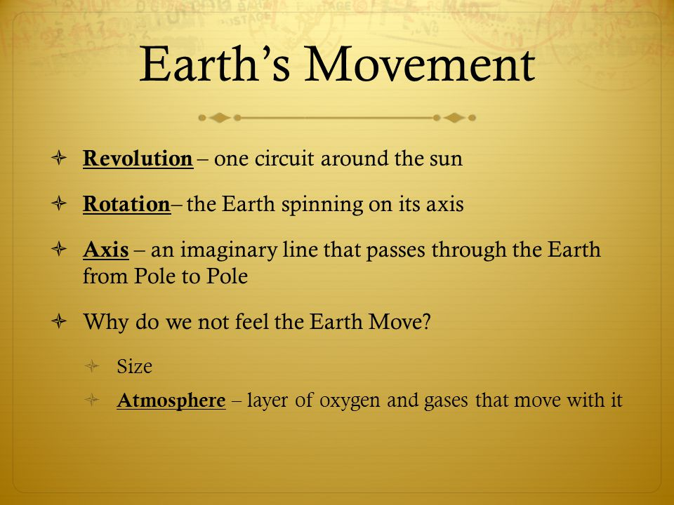 Earth's Movement Revolution – one circuit around the sun