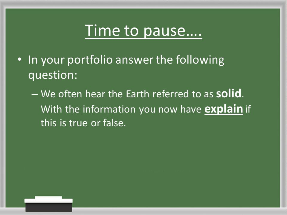 Time to pause…. In your portfolio answer the following question: