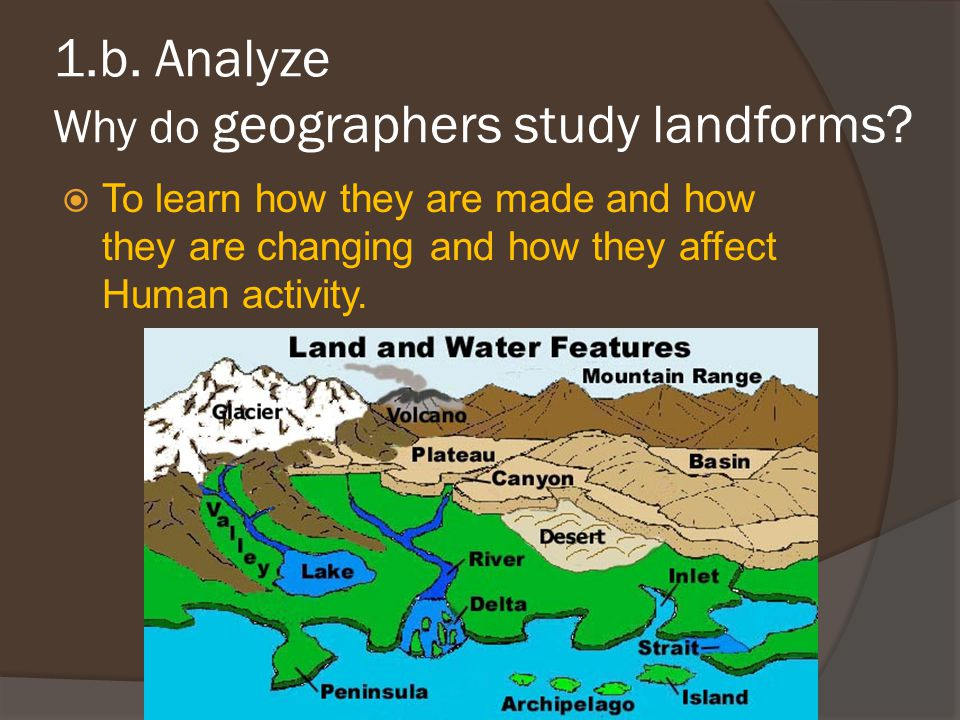 1.b. Analyze Why do geographers study landforms