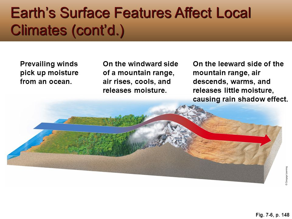 Earth's Surface Features Affect Local Climates (cont'd.)
