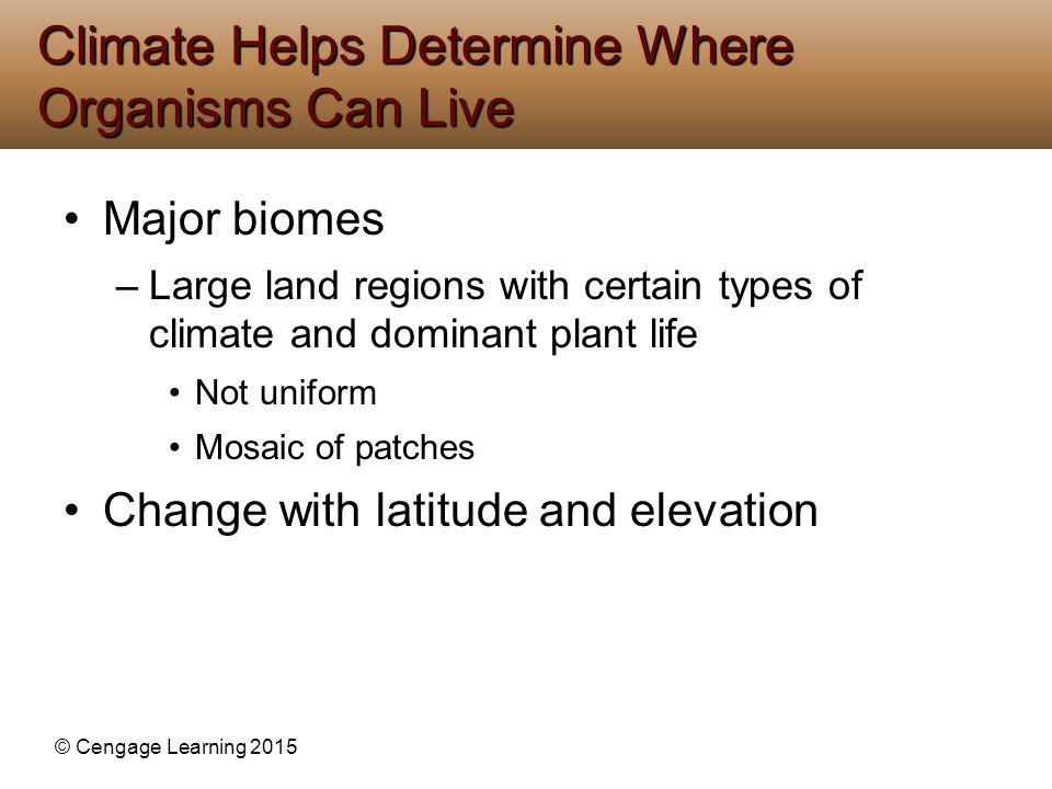Climate Helps Determine Where Organisms Can Live