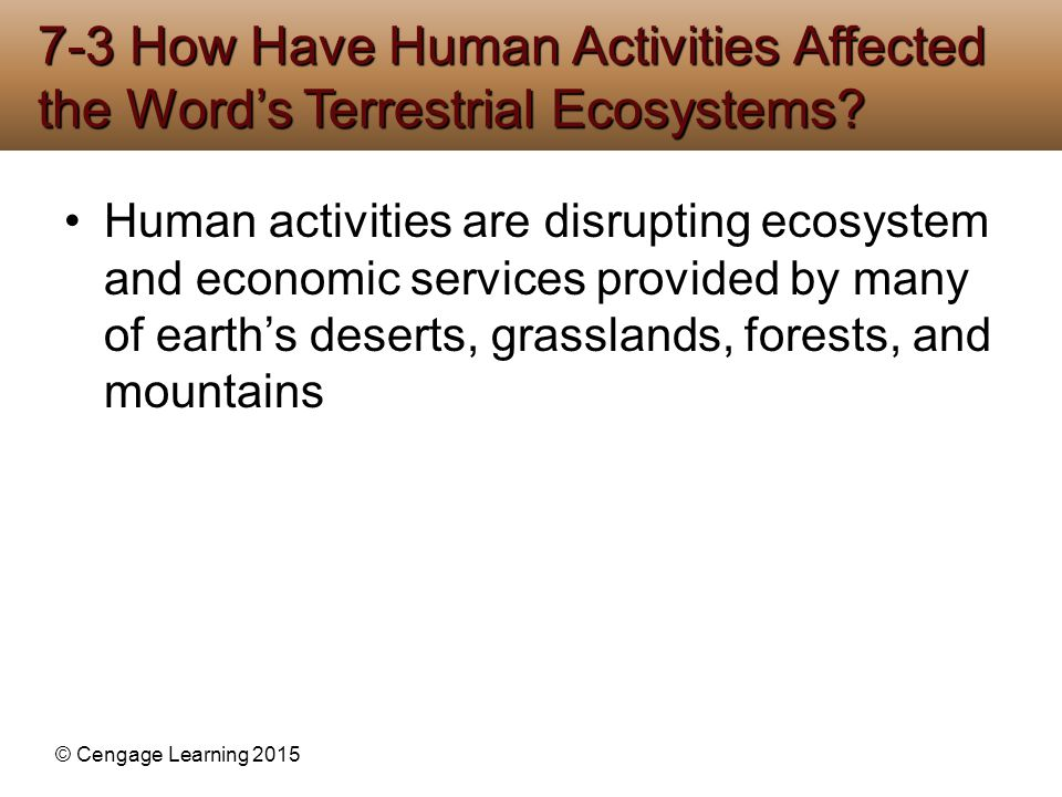 7-3 How Have Human Activities Affected the Word's Terrestrial Ecosystems
