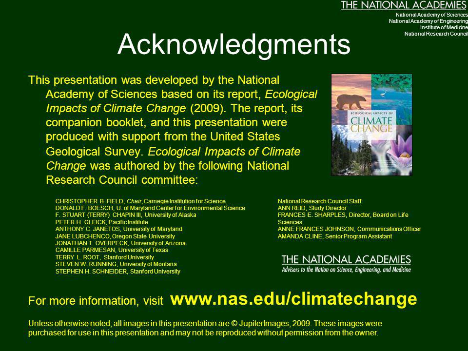 Acknowledgments National Academy of Sciences. National Academy of Engineering. Institute of Medicine.
