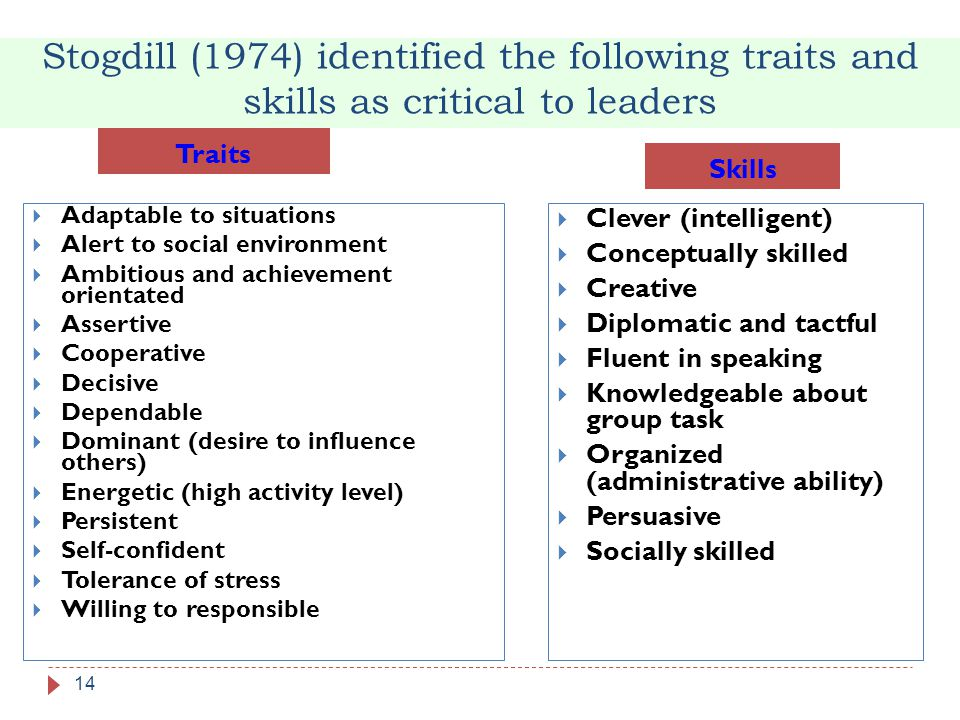 Stogdill (1974) identified the following traits and skills as critical to leaders