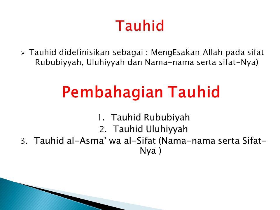 Tauhid al-Asma' wa al-Sifat (Nama-nama serta Sifat-Nya )