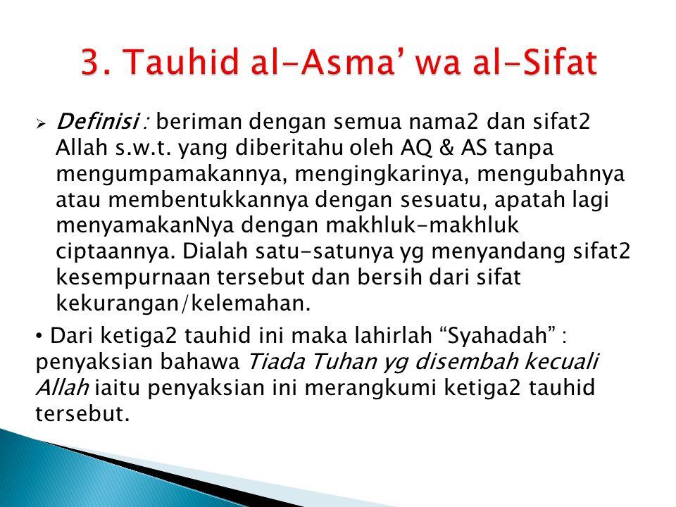 3. Tauhid al-Asma' wa al-Sifat