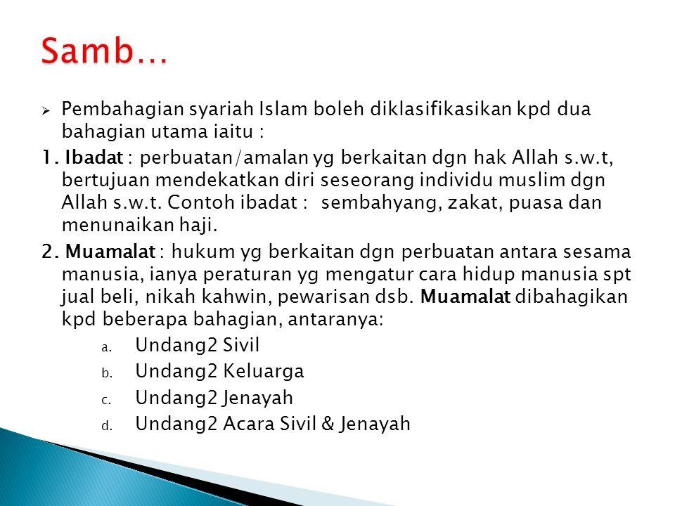 Samb… Pembahagian syariah Islam boleh diklasifikasikan kpd dua bahagian utama iaitu :