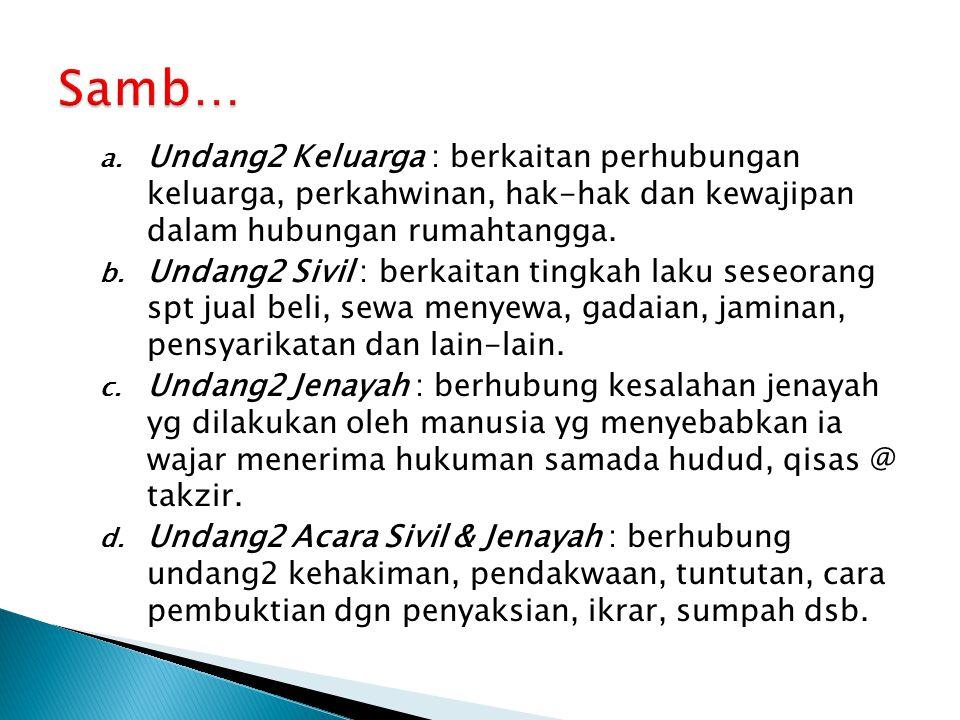 Samb… Undang2 Keluarga : berkaitan perhubungan keluarga, perkahwinan, hak-hak dan kewajipan dalam hubungan rumahtangga.