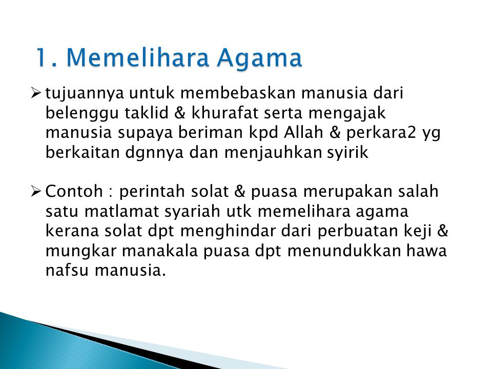 1. Memelihara Agama