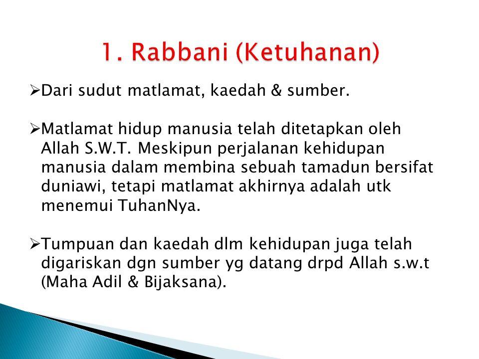 1. Rabbani (Ketuhanan) Dari sudut matlamat, kaedah & sumber.