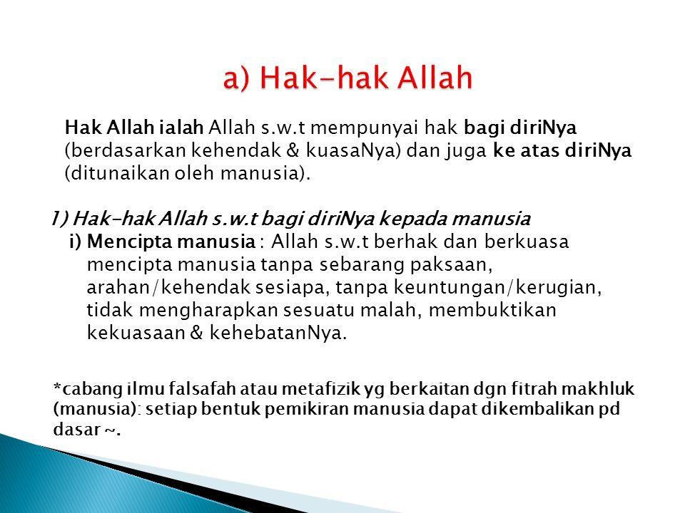 a) Hak-hak Allah