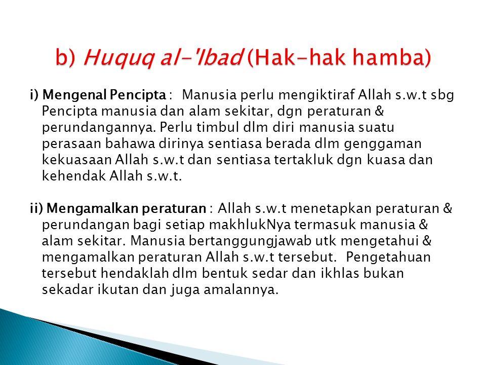 b) Huquq al- Ibad (Hak-hak hamba)