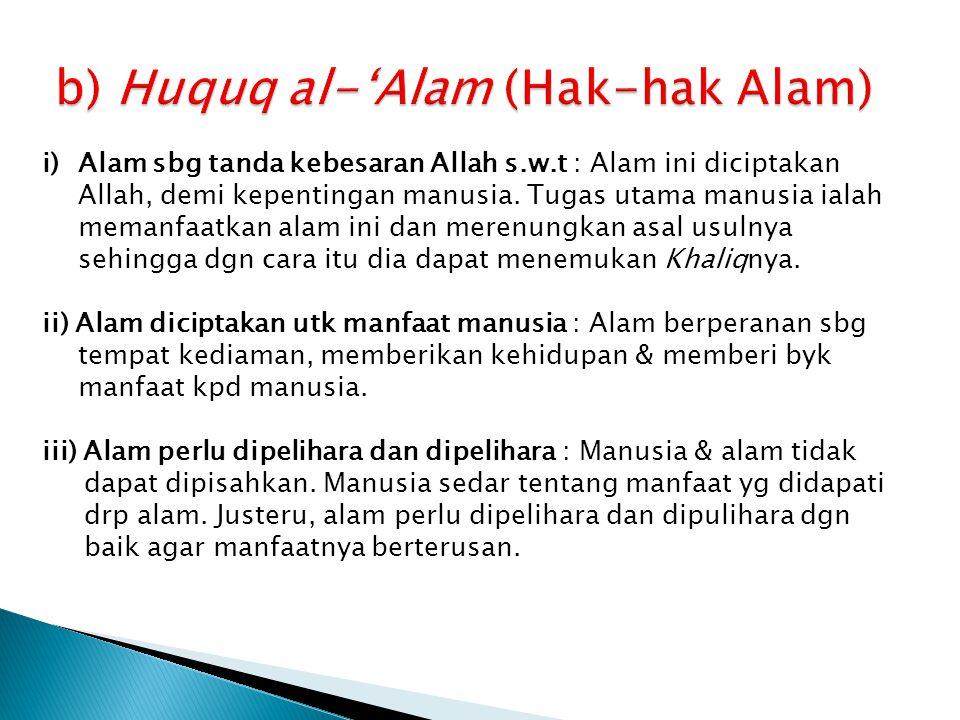 b) Huquq al-'Alam (Hak-hak Alam)