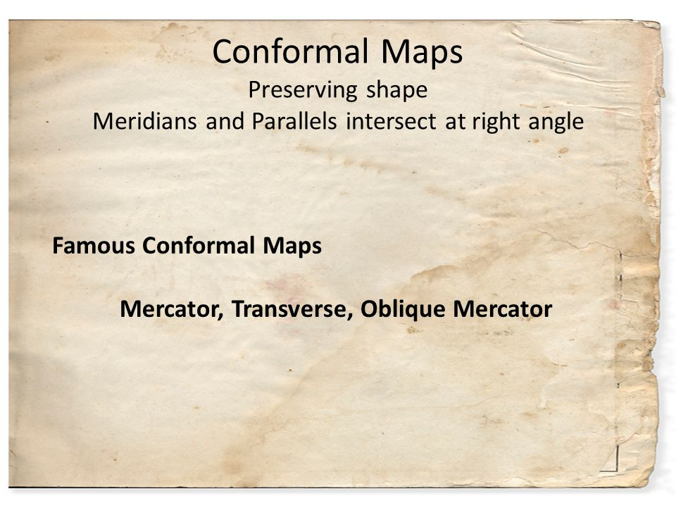 Conformal Maps Preserving shape Meridians and Parallels intersect at right angle