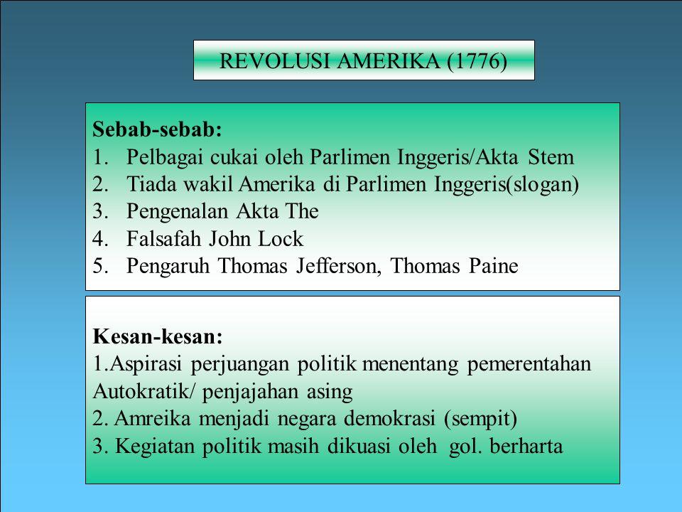 REVOLUSI AMERIKA (1776) Sebab-sebab: Pelbagai cukai oleh Parlimen Inggeris/Akta Stem. Tiada wakil Amerika di Parlimen Inggeris(slogan)
