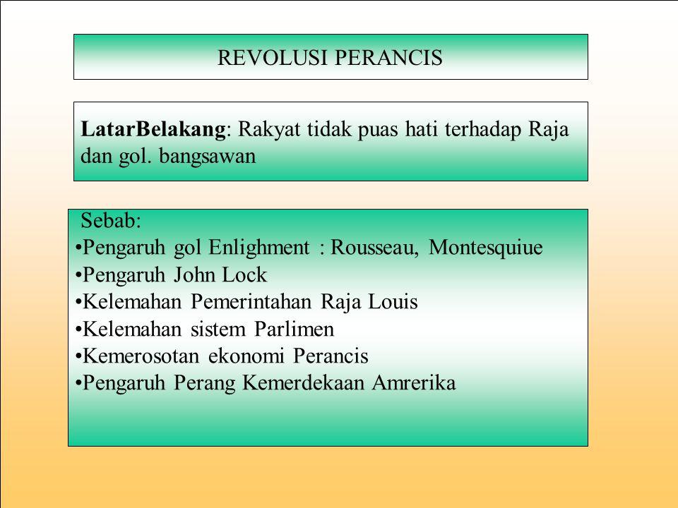 REVOLUSI PERANCIS LatarBelakang: Rakyat tidak puas hati terhadap Raja. dan gol. bangsawan. Sebab: