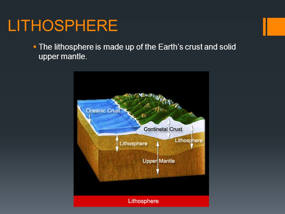 LITHOSPHERE The lithosphere is made up of the Earth's crust and solid upper mantle.