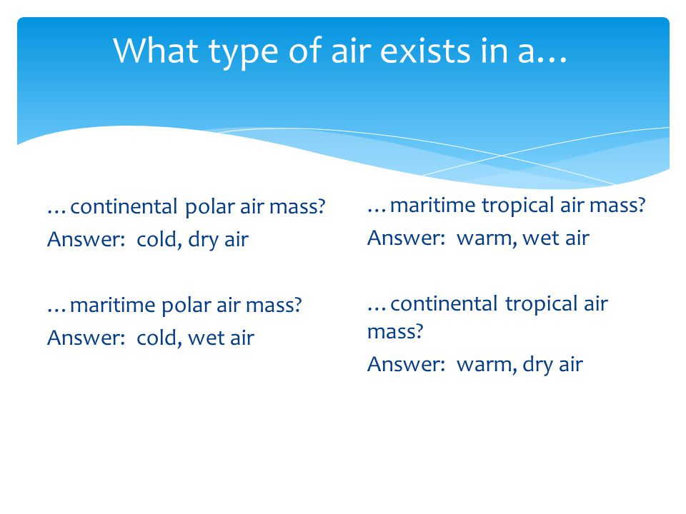 What type of air exists in a…