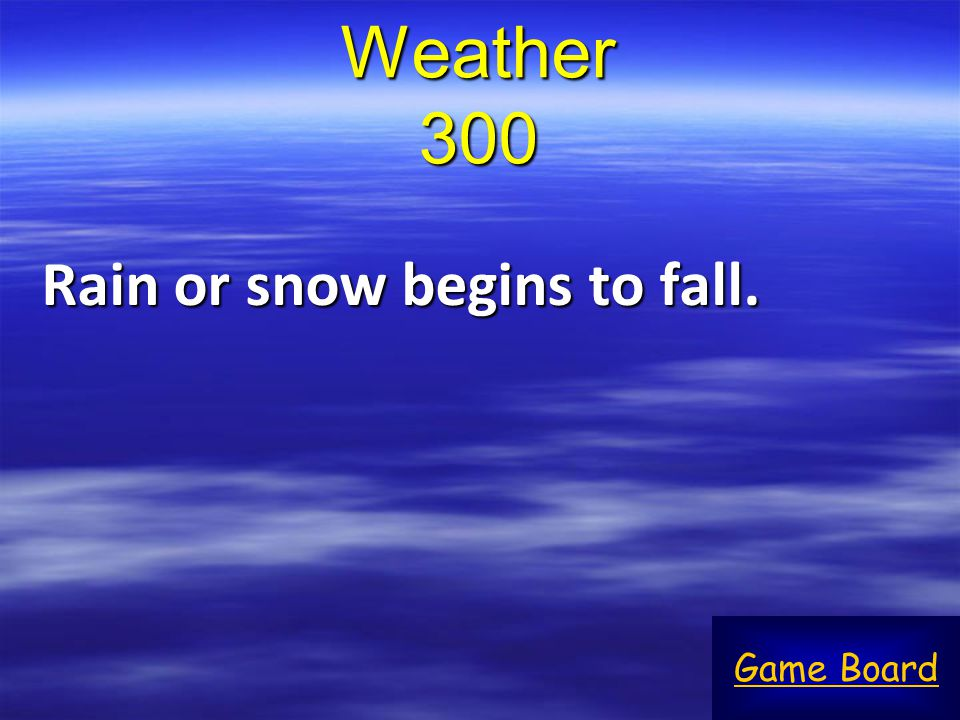 Weather 300 Rain or snow begins to fall. Game Board