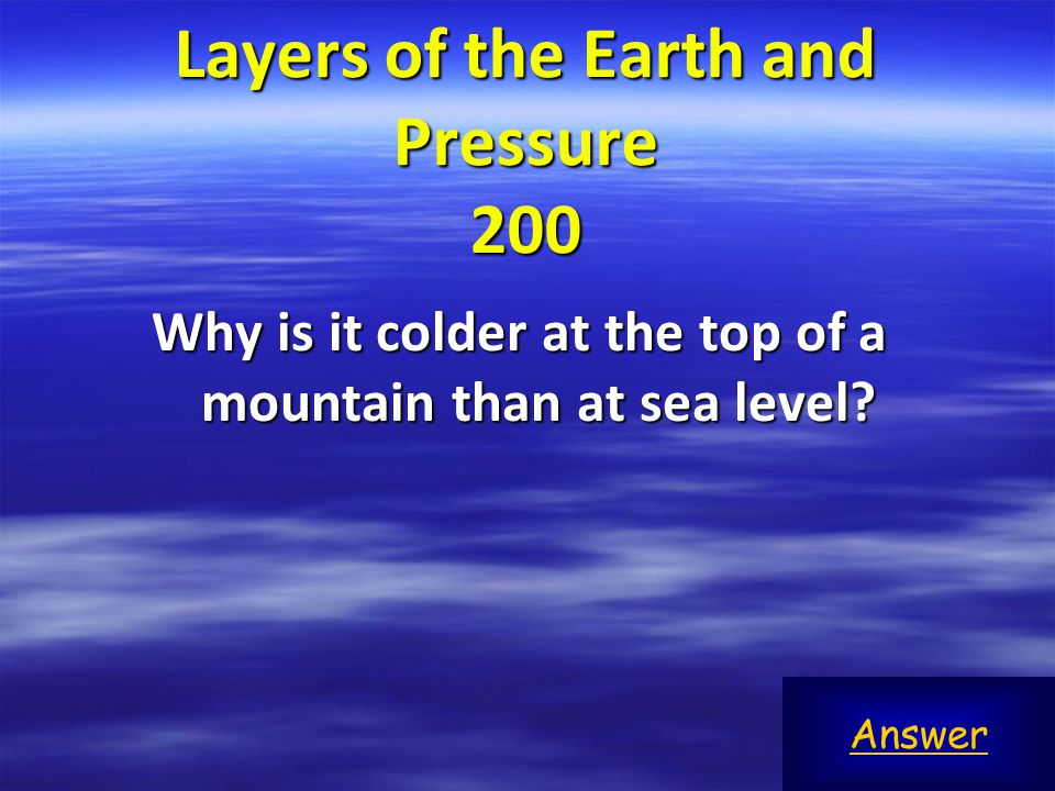 Layers of the Earth and Pressure 200