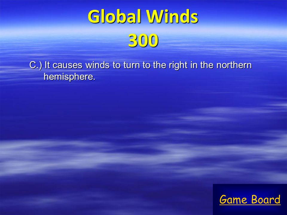 Global Winds 300 Game Board