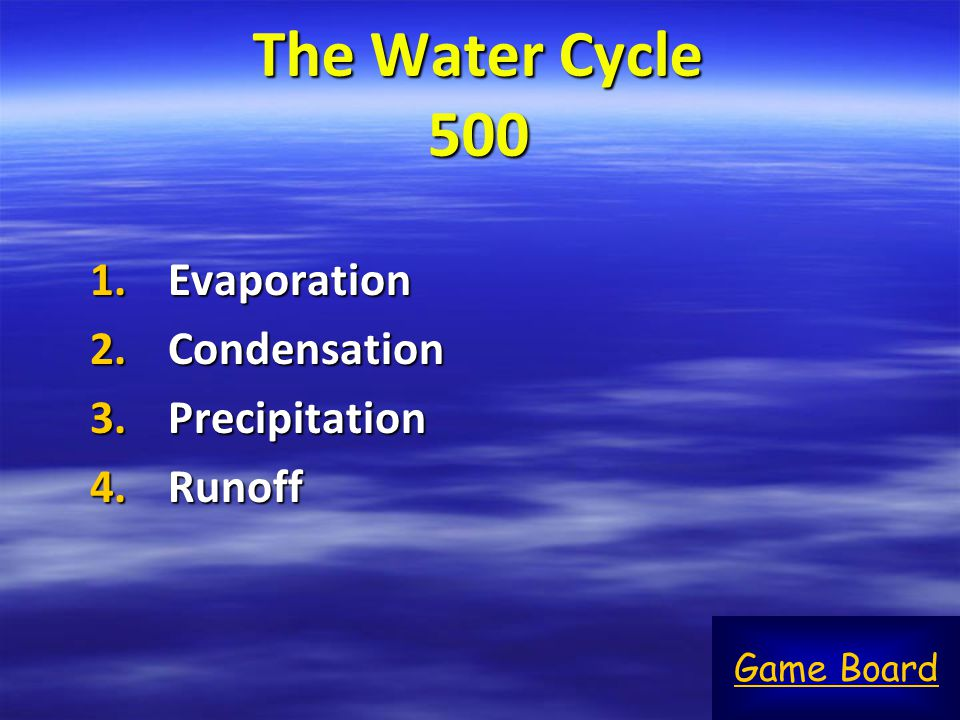 The Water Cycle 500 Evaporation Condensation Precipitation Runoff