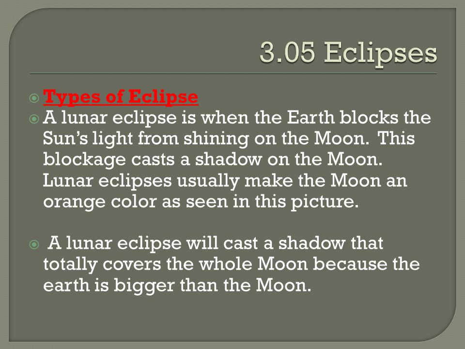 3.05 Eclipses Types of Eclipse