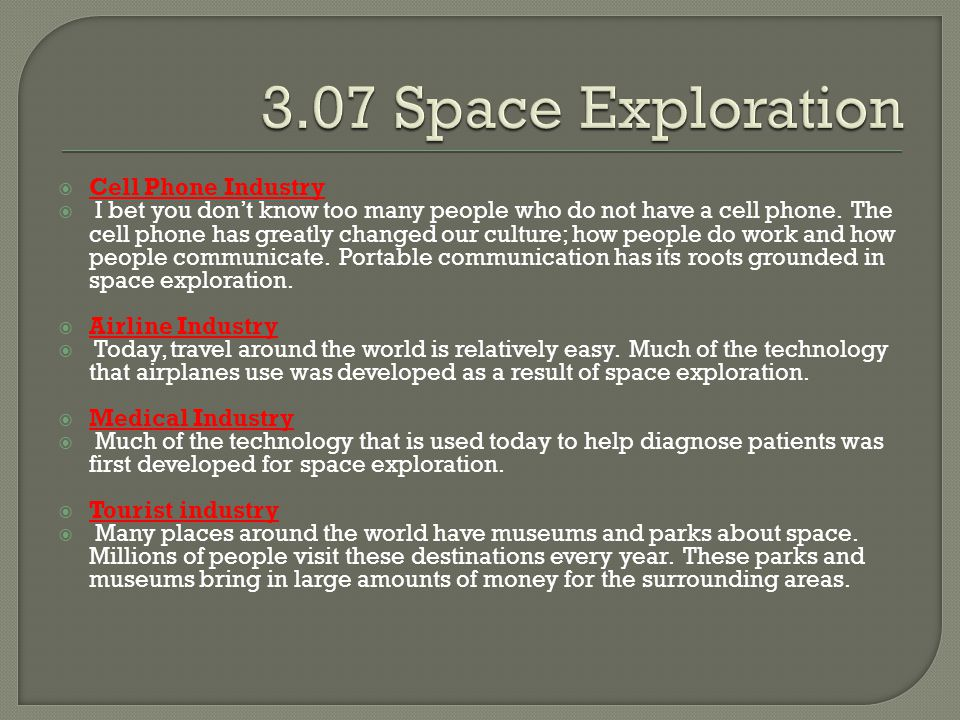 3.07 Space Exploration Cell Phone Industry