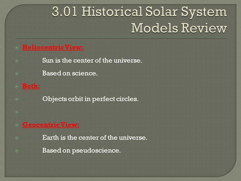 3.01 Historical Solar System Models Review