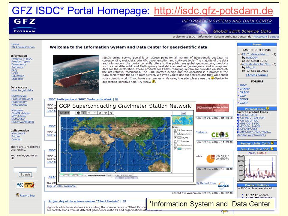 GFZ ISDC* Portal Homepage: http://isdc.gfz-potsdam.de