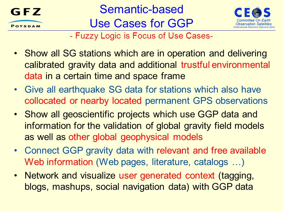 Semantic-based Use Cases for GGP - Fuzzy Logic is Focus of Use Cases-