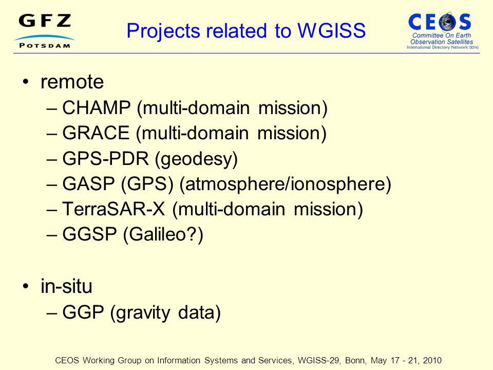 Projects related to WGISS