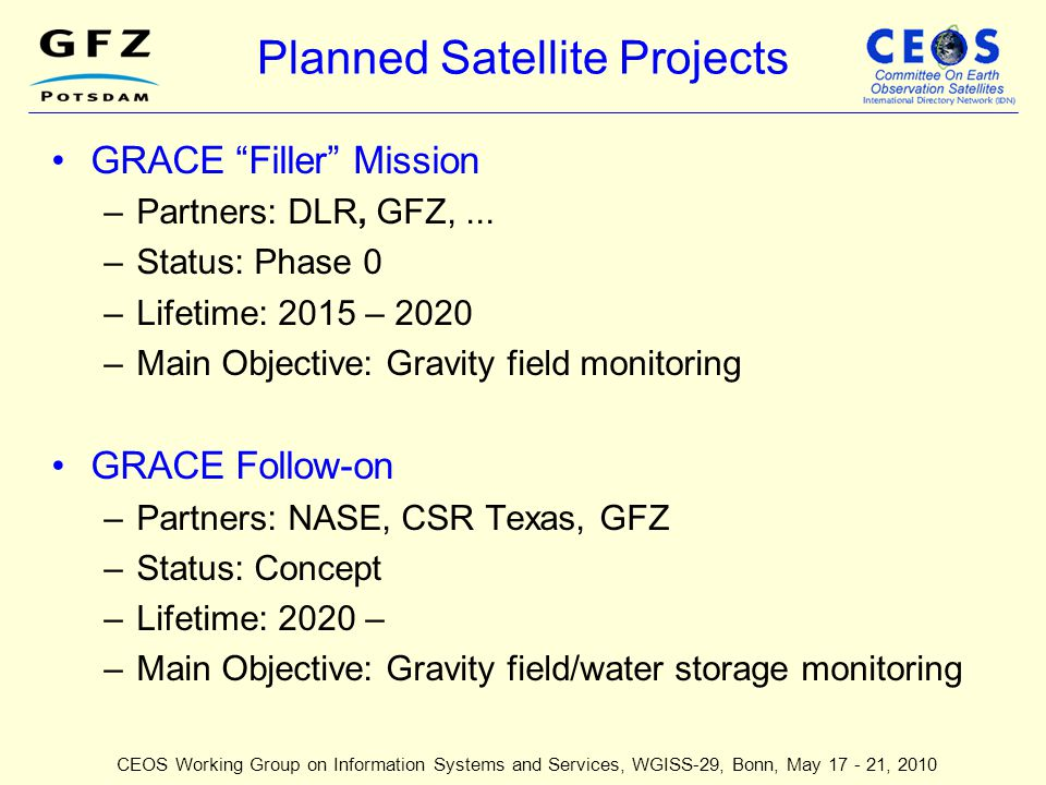 Planned Satellite Projects