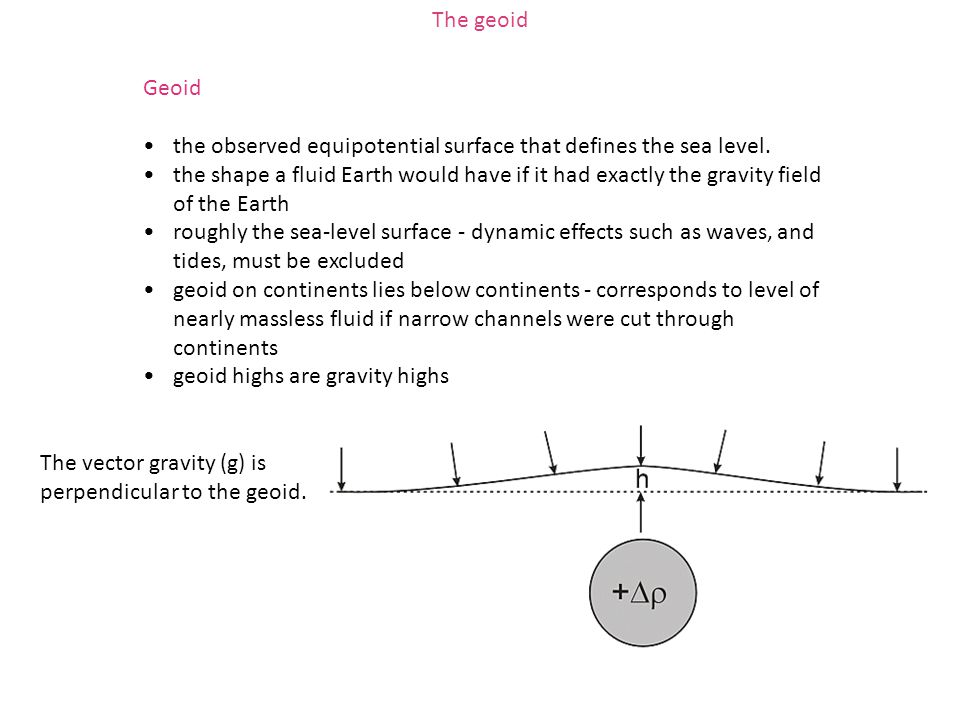 The geoid Geoid. the observed equipotential surface that defines the sea level.