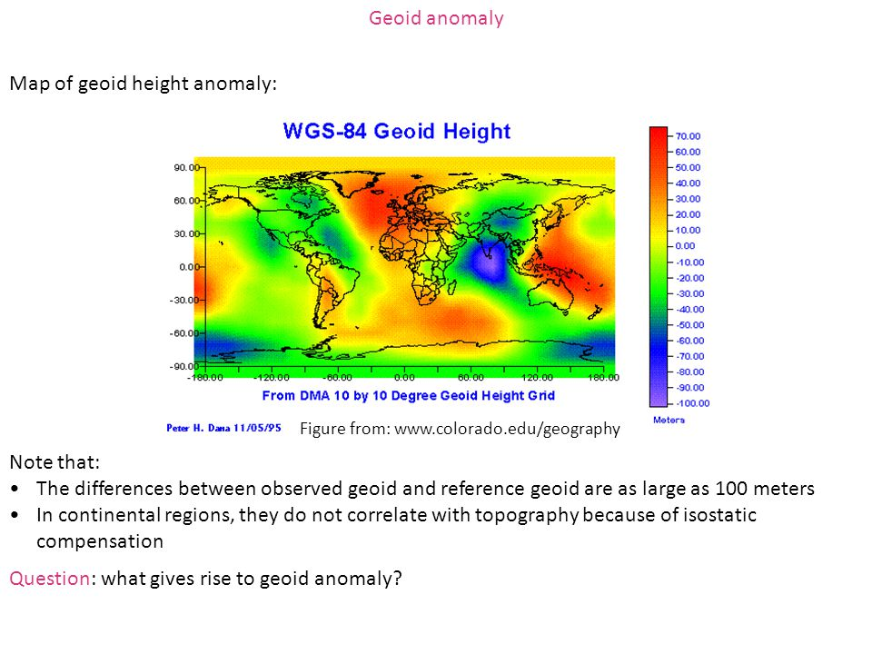 Map of geoid height anomaly: