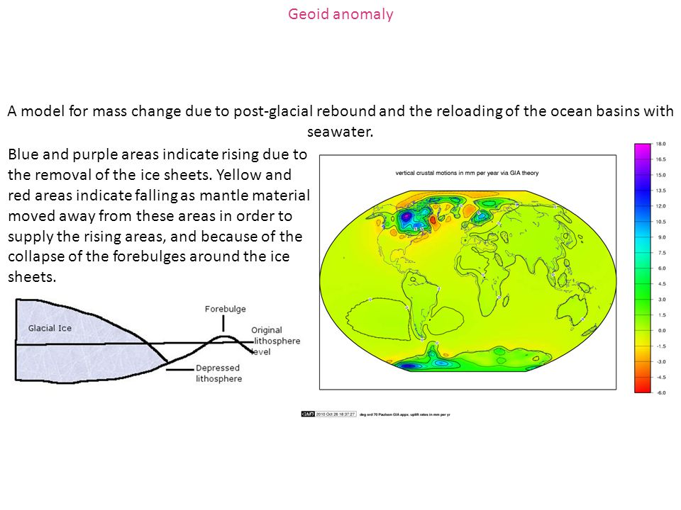 Geoid anomaly A model for mass change due to post-glacial rebound and the reloading of the ocean basins with seawater.