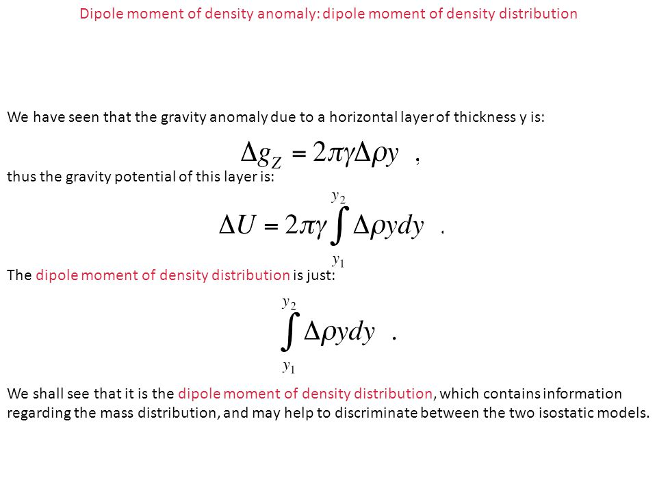 Dipole moment of density anomaly: dipole moment of density distribution