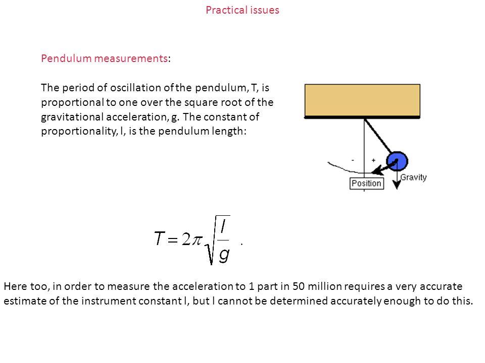 Practical issues Pendulum measurements: