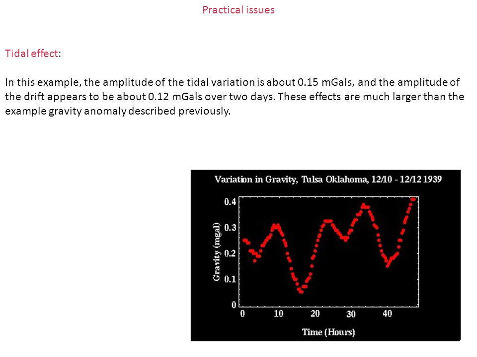 Practical issues Tidal effect: