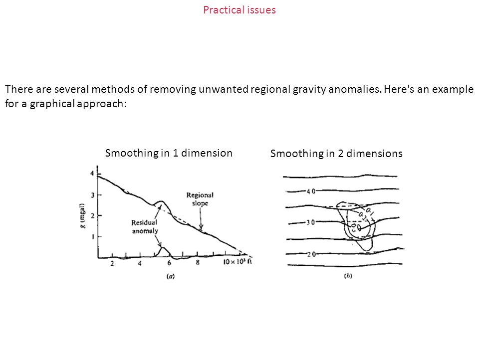 Practical issues There are several methods of removing unwanted regional gravity anomalies. Here s an example for a graphical approach: