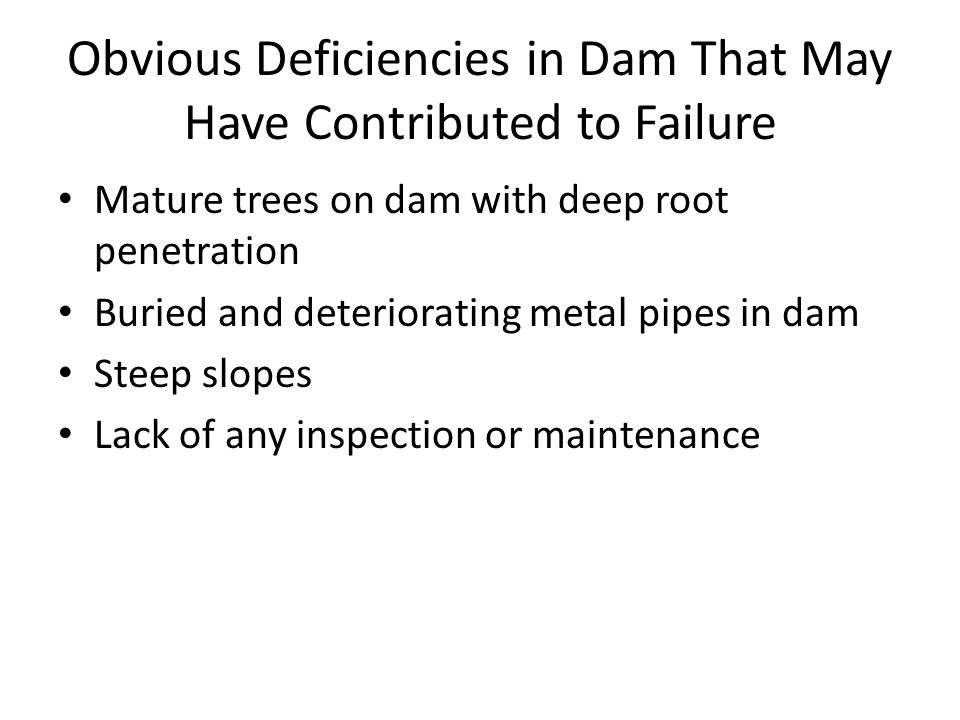 Obvious Deficiencies in Dam That May Have Contributed to Failure