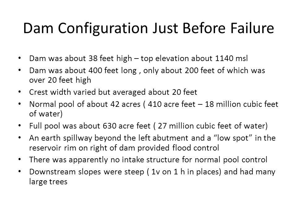 Dam Configuration Just Before Failure